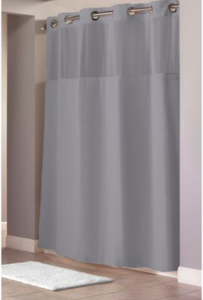 Waffle Grey Fabric Shower Curtain