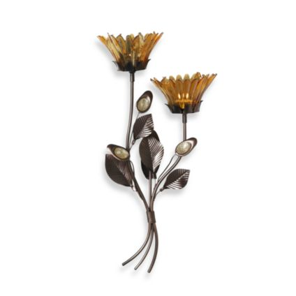 17-Inch Amber Flower Wall Sconce