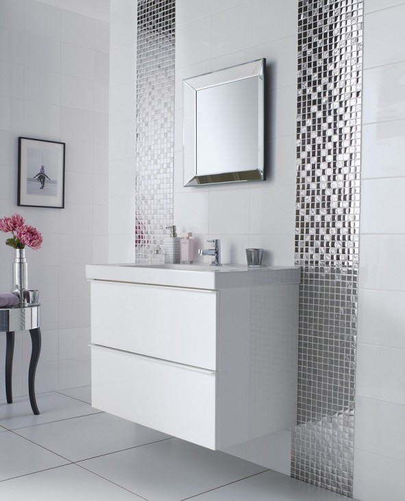 Modern Bathroom with White Sink and Fancy Silver Glossy Mosaic Wall Decor
