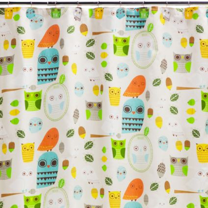 Give A Hoot Cotton Shower Curtain