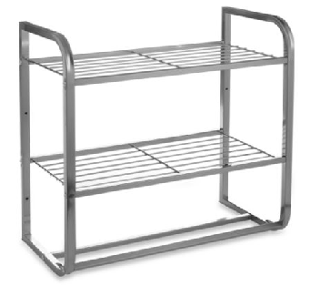Satin Nickel Shelf with Towel Bars