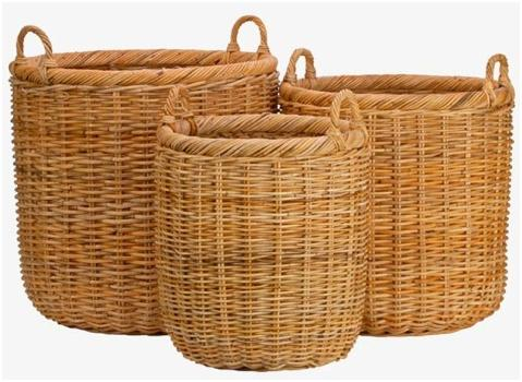 Unpeeled Natural Rattan Baskets