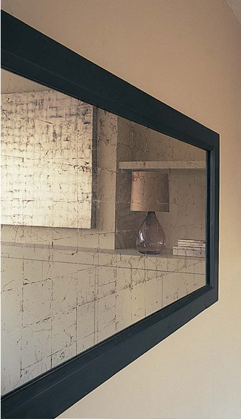 Ochre Gesso and Verre Eglomise Silver Leaf Mirror